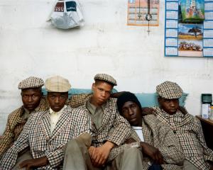 Loyiso Mayga, Wandise Ngcama, Lunga White, Luyanda Mzantsi and Khungsile Mdolo after their initiation ceremony in Mthatha © Pieter Hugo