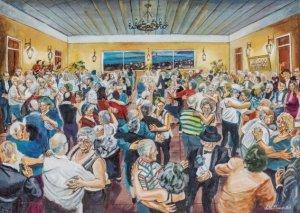 """""""Baile da terceira idade'', 2012 Acrílico sobre tela - 61 x 85 cm  © António Firmino"""